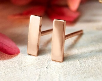 Bar Studs | Geometric Minimalist Earrings | Solid 14K Gold | Fine Jewelry | Free Shipping