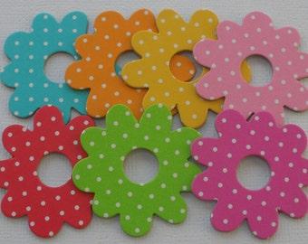 DOODLE DOTS - Chipboard Die Cuts - Polka Dot Flower Embellishments