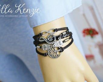 Music Note Bracelet, Music Note Charm Bracelet, Music Note Leather Bracelet, Music Note Friendship Bracelet, Music Note Jewelry