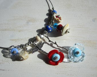 Lampwork, beige, red, blue beaded necklace