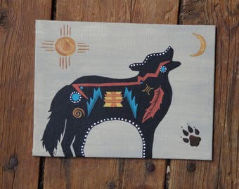 Coyote Picture, Hand Painted, Small Canvas, Native American Style, Tribal Style
