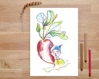 Food Illustration, Turnip Print, Botanical Art, Kitchen Wall Decor, Kitchen Art, Kitchen Prints, Vegetable Print, Art for Kitchen, Radish