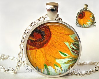 Sunflower Pendant,Sunflower Necklace,Summer Outdoors.Sunflower Jewelry,Van Gogh Sunflower,Picture Pendant,Flower,Gift for, Print,Glass