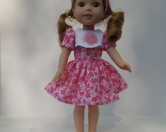 "24-Handmade for 14.5"" doll like Wellie Wishers - Pink and White floral dress, with matching headband,  Made in America"