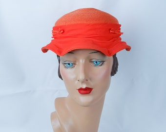 1960s Vintage Hat Tangerine Piecrust Brim Straw Hat by Louise Sz 21