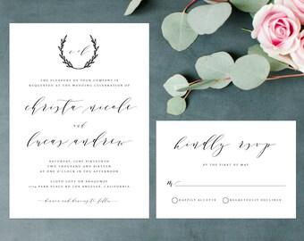Rustic Elegant Wedding Invitation, Handwritten Wedding Invitation, Wreath Wedding Invite