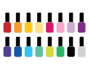 50 rainbow nailpolish clipart nail polish digital illustrations png rh etsystudio com nail varnish clipart free nail polish clipart png
