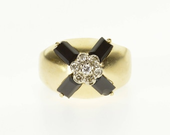 14k Black Onyx Diamond Inset Cluster Statement Ring Gold