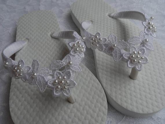 Flops Party Flower Flops Girls Flip Sandals Flower White Bridal Lace Girls White Venice Flip 58gfBqEg