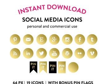 Gold Foil Social Media Icons and Buttons - Pinterest Buttons Instagram Buttons Blog Buttons Wordpress Buttons