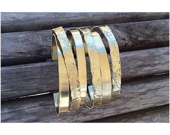 Polished Jewelers Brass Bangle Bracelets Set | Set of Bangles | Boho Bangles | Hammered Brass Bangles | Set of Bracelets | Boho Bracelets