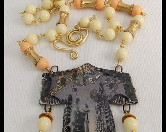 KIMONO - Coral - Restructured Amber - Handmade Ceramic Kimono - 1 of a Kind Wirewrapped Necklace