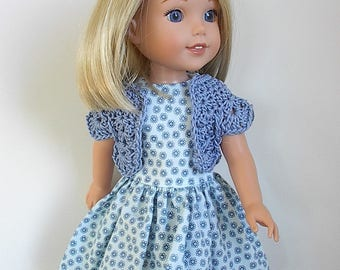 "Sleeveless Cotton 14.5"" Doll Dress in Blue Print and Matching Blue Crocheted Bolero Handmade to fit Wellie Wishers & Similar Dolls"
