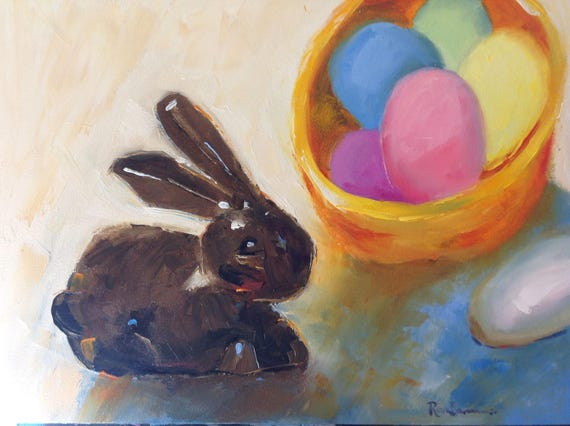 Easter Bunny, Easter Eggs, Chocolate Bunny, Spring Painting