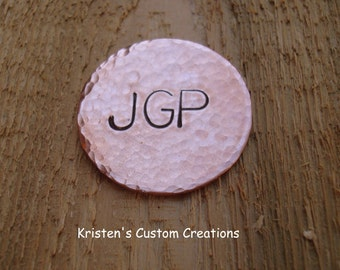 Hammered Copper Golf Ball Marker The perfect Father's Day Gift