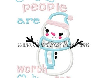 Personalized SnowMan Some People Are Worth Melting For Applique Shirt or Onesie Boy or Girl