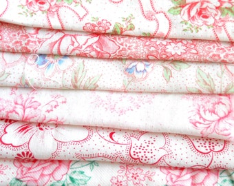 vintage fabric pieces patchwork fabric bundle french fabric french red floral fabric floral fabric bundle