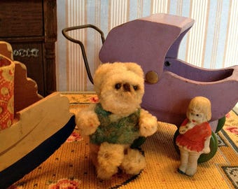 Vintage Miniature Teddy Bear, Chenille Pipe Cleaner for Doll or Dollhouse