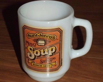 Vintage Aunt Jenny's Mug O' Soup Milk Glass Mug ~ Anchor Hocking