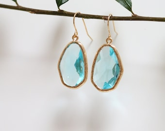 Aquamarine Blue Quartz Earrings - Gold Dangle Earrings - Drop Earrings - Birthstone Earrings - Blue Earrings - Gemstone Jewellery