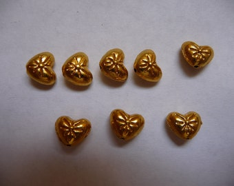 """SALE!! Bead, Gold-Finished """"Pewter"""" (zinc-based alloy), 8x6mm Double-Sided Heart with Flower Design, Pack Of 14 beads. SALE!!"""