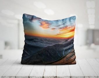 Sunrise Over Mountains Mountain Pillow Mountain Home Decor Mountain Print 18x18 Throw Pillows Mountain Cushion Gift For Her Gifts For Him