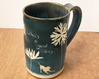 Doggy Mug, handmade mug, coffee mug, large ceramic mug