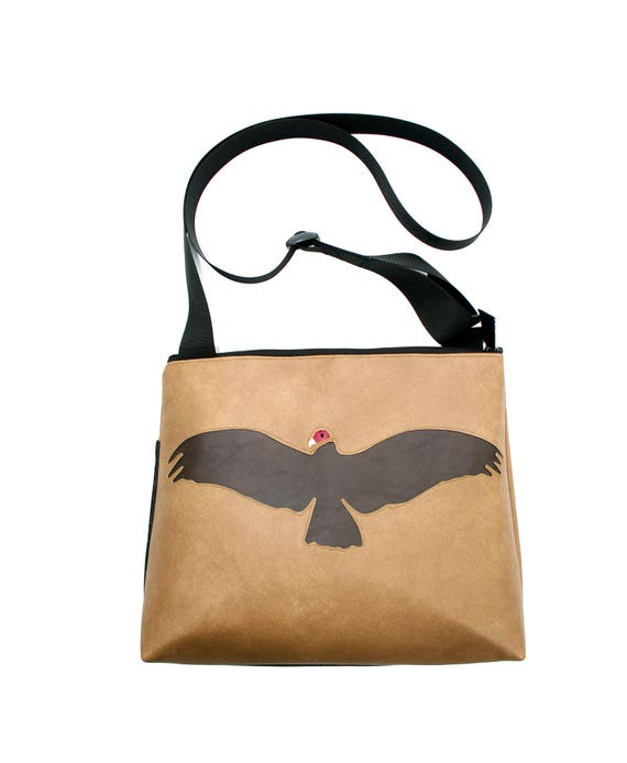 Vulture, tan vinyl, vegan, vegan leather, large, cross body bag