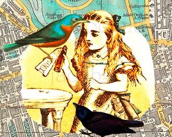 Alice in wonderland,birds,London,fine art,vintage map,instant download,digital,8x8,printable,turquoise,yellow,London,nursery,home decor