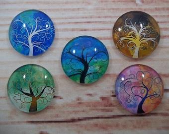 Tree of Life Fridge Magnets, Glass Kitchen Magnets, Set of 5, Kitchen Decor, Hostess Gift, Housewarming Gift, Office Decor, Locker Magnet