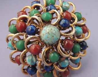 Domed Floral Brooch Pendant with Faux Jade Carnelian Lapis Turquoise Art Glass, Vintage Domed Floral Pin, Floral Pendant Brooch