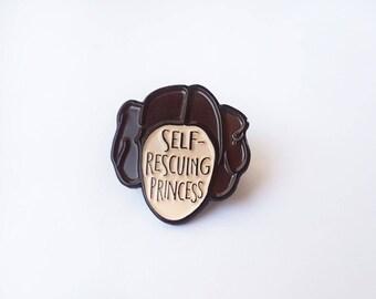 Enamel Pin Self-rescuing Princess - Enamel lapel pin - Feminist Enamel Pin - Star Wars - Princess Leia - Mothers Day - Feminist gift