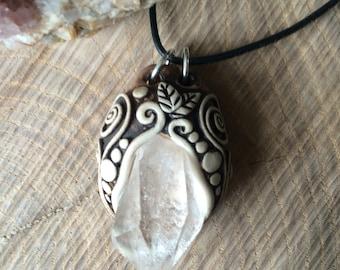 Quartz polymer clay pendant. Handmade. One of a kind. Boho. Crystal jewelry