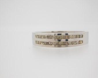 0.74 Carat T.W. Princess Cut Diamond Band 14K White Gold Ring