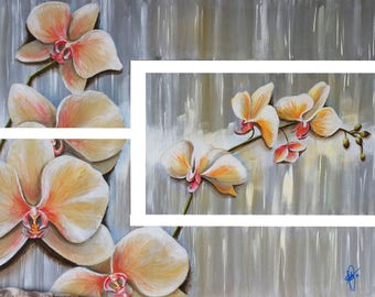 Floral triptych painting, Orchid