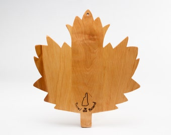 Large Wood Maple Leaf Cutting and Cheese Board