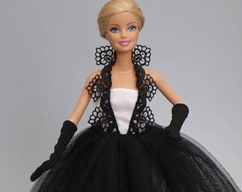 Barbie clothes -  tulle ball gown, gloves - handmade
