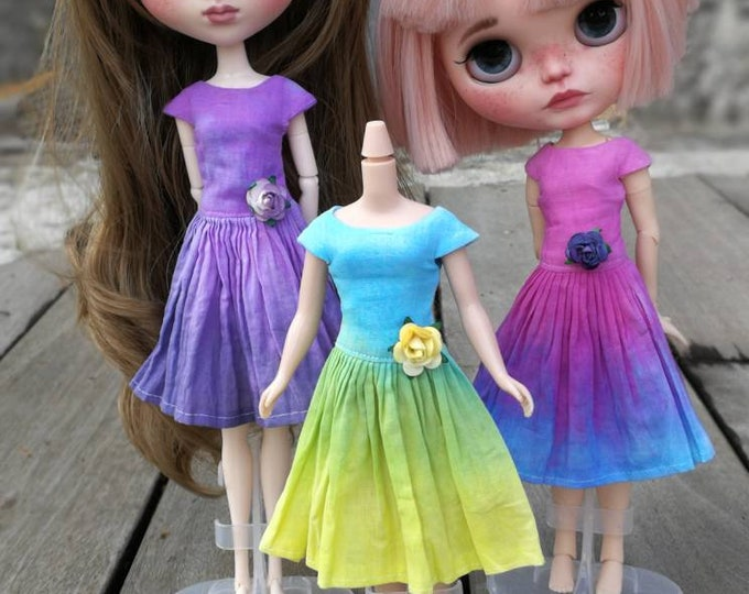 Dress handmade (sewing and dyeing) for Blythe and pullip.