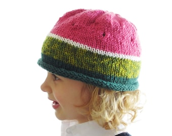 Watermelon Hat - Soft Wool - 2 to 8 year old - Ready to Ship