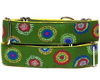 Martingale, Dog Collar, SPLASH, Multi-Colorblock, Safety Collar, Greyhound Collar, Sighthound Collar, Adjustable, Green dog collar