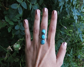 Size 7 Triple Turquoise Sterling Silver Ring