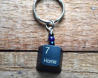 """Geeky """"home"""" keychain, keyboard key, Geeky housewarming, """"Home"""" keychain, there's no place like home! Upcycled, green, *Ready to ship!*"""