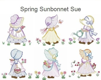 Spring Sunbonnet Sue Embroidery Designs Instant Download 4x4 5x5 6x6 hoop 10 designs SHE5045