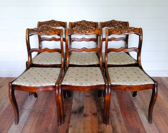 1930's Solid Wood Chairs (Set of 6)