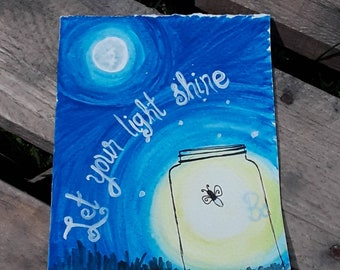 Hand Painted 'Let Your Light Shine' Graduation Card | Hand Drawn Glowing Firefly Encouragement Card | Hand Made Congratulatory Card