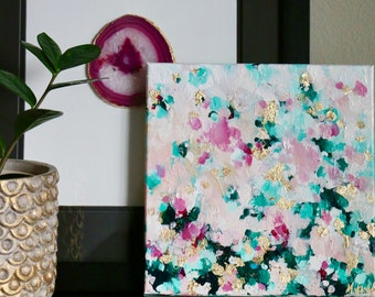 """10"""" x 10"""" Square Modern Acrylic Original Painting on Canvas- Green, Pink, Gold, Magenta"""