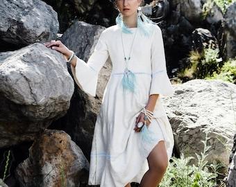 Felted Wool Dress, White Midi Dress, Loose Dress, Short White Dress, Fall Wedding Dress, Music Festival Clothing, White Cocktail Dress