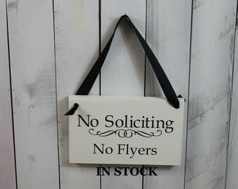 No Soliciting/No FLYERS Sign/Hand painted/Wood/YOU Choose Color/Wood Sign/Outdoor Sign