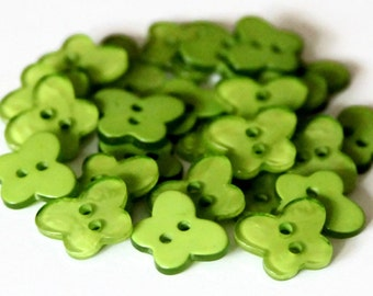 30 Green Butterfly Buttons - 17mm x 13mm - Small Resin Buttons - Opaque Buttons - Girls Buttons - Insect Bugs - Scrapbooking - RM66