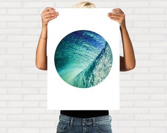 Printable Wave Photo, Wave Print, Ocean Wall Art, Printable Wall Art, Wave Photography, Wave Art Print, Digital Art, Circle Wall Art